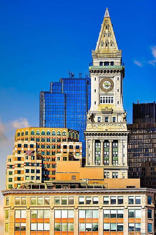 Boston Skyline Print featuring the photograph Historic Custom House Clock Tower - Boston Skyline by Mark E Tisdale