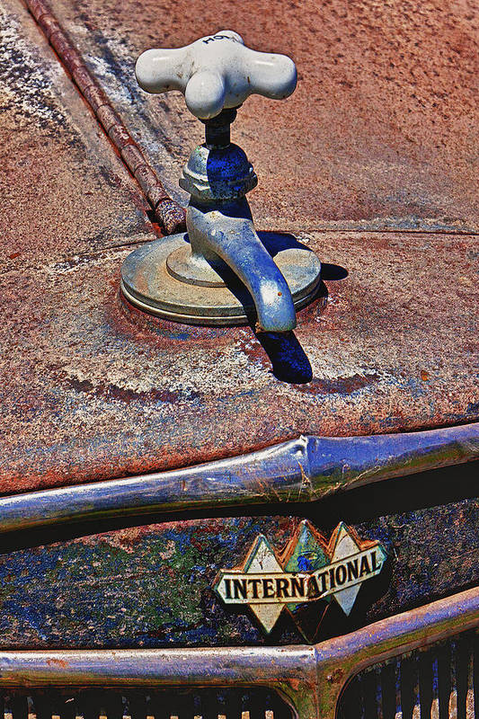 Hot Faucet Art Print featuring the photograph Hot Faucet Hood Ornament by Garry Gay