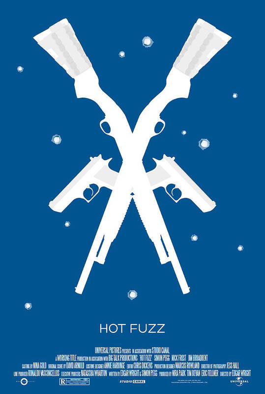 Zombies Art Print featuring the digital art Hot Fuzz Cornetto Trilogy Custom Poster by Jeff Bell