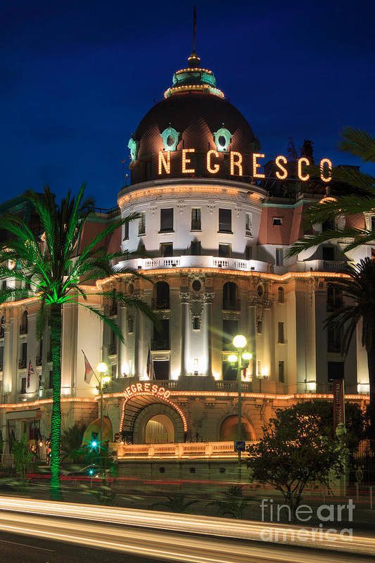Cote D'azur Art Print featuring the photograph Hotel Negresco By Night by Inge Johnsson