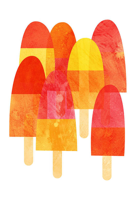 Cool Down With A Bright And Fruity Ice Lolly Print On A Hot Summer Day. Art Print featuring the painting Ice Lollies by Nic Squirrell