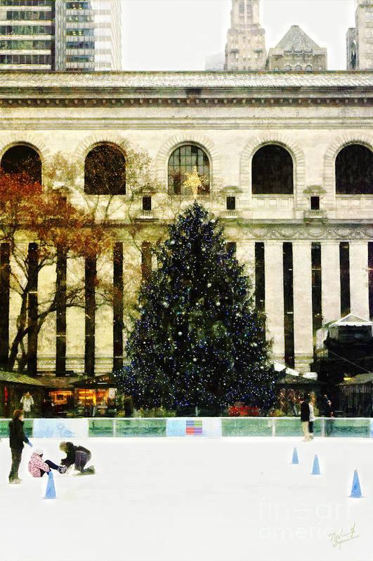 Xmas Tree Print featuring the digital art Ice Skating During The Holiday Season by Nishanth Gopinathan