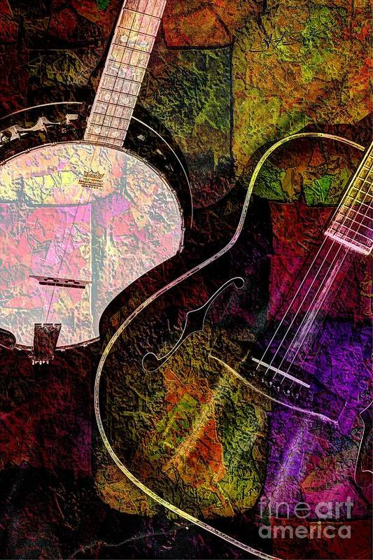 Acoustic Print featuring the photograph If Not For Color Digital Banjo And Guitar Art By Steven Langston by Steven Lebron Langston