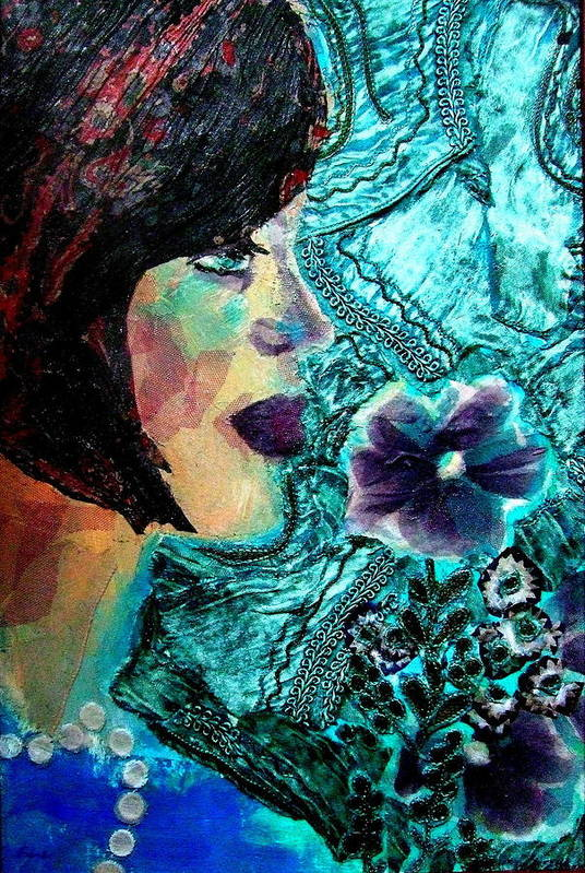 Mixed Media Portrait Art Print featuring the mixed media Ilana by Diane Fine