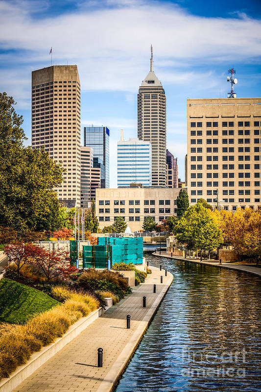 America Art Print featuring the photograph Indianapolis Skyline Picture Of Canal Walk In Autumn by Paul Velgos