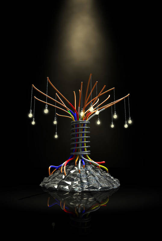Tree Art Print featuring the digital art Industrial Future Tree by Allan Swart