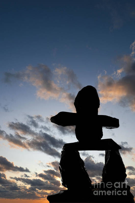 Indigenous Culture Art Print featuring the photograph Inukshuk Silhouette Sunset by Gord Horne