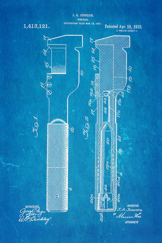 Engineer Art Print featuring the photograph Jack Johnson Wrench Patent Art 1922 Blueprint by Ian Monk