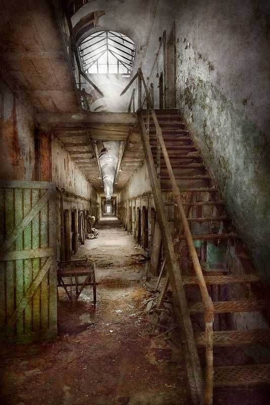 Jail Print featuring the photograph Jail - Eastern State Penitentiary - Down A Lonely Corridor by Mike Savad