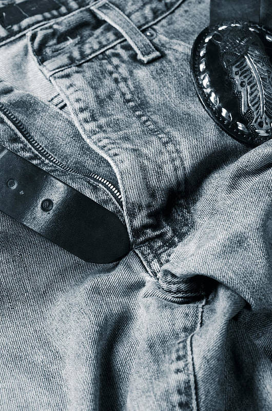 Jeans Art Print featuring the photograph Jeans And Denim In Blue by Christian Lagereek