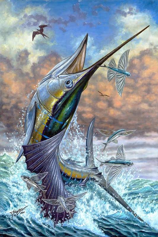 Flying Fishes Art Print featuring the painting Jumping Sailfish And Flying Fishes by Terry Fox