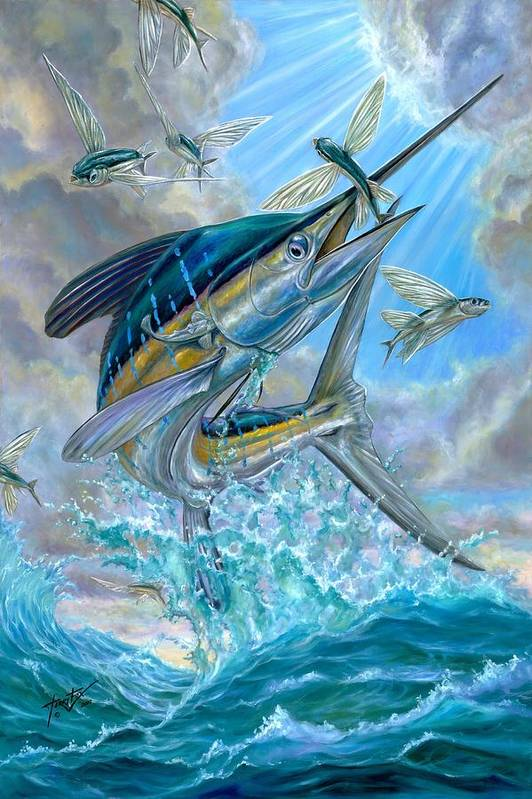 White Marlin Art Print featuring the painting Jumping White Marlin And Flying Fish by Terry Fox