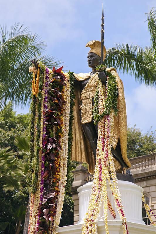 Aliiolani Art Print featuring the photograph Kamehameha Covered In Leis by Brandon Tabiolo