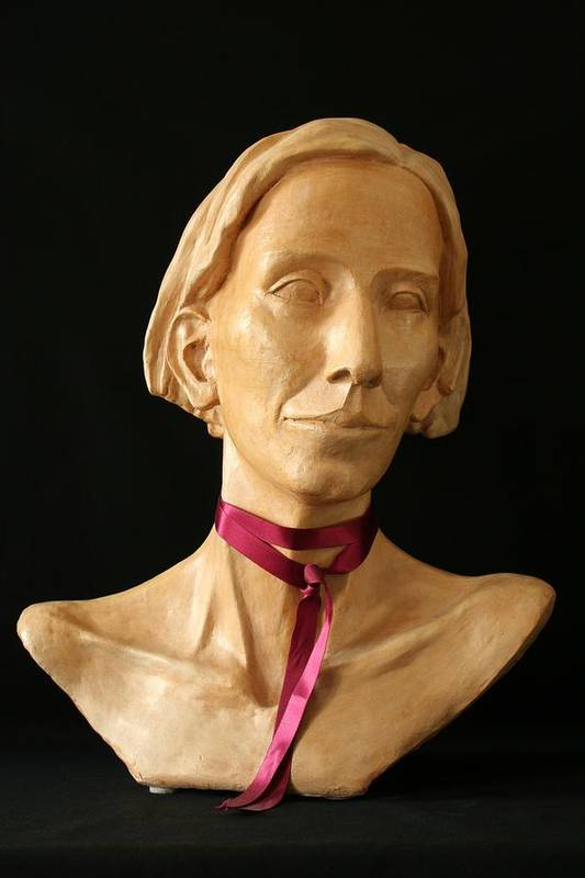 Portrait Sculpture Print featuring the sculpture Katherine by Flow Fitzgerald