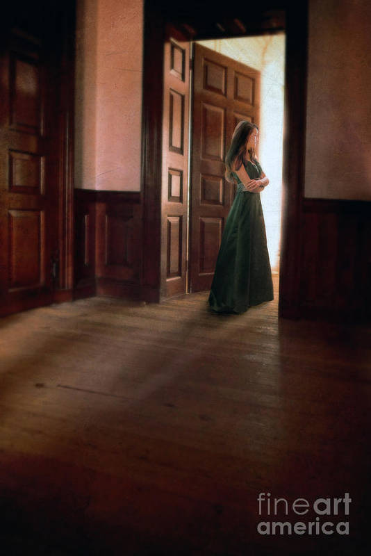 Beautiful Art Print featuring the photograph Lady In Green Gown In Doorway by Jill Battaglia