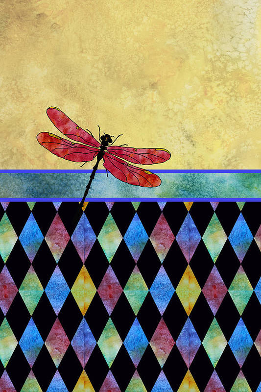 Dragonfly Art Print featuring the mixed media Lady In Red by Jenny Armitage