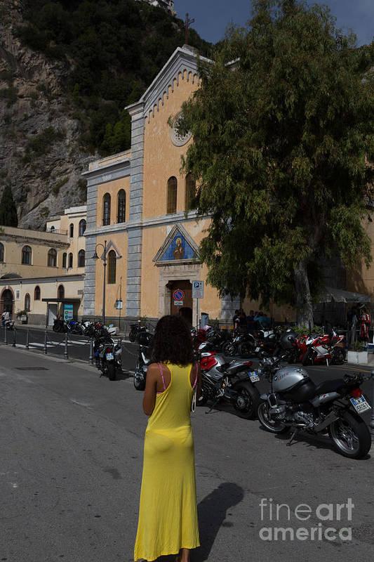 Amalfi Coast Art Print featuring the photograph Lady In Yellow By The Church Of San Francesco Maiori Italy by Dan Hartford