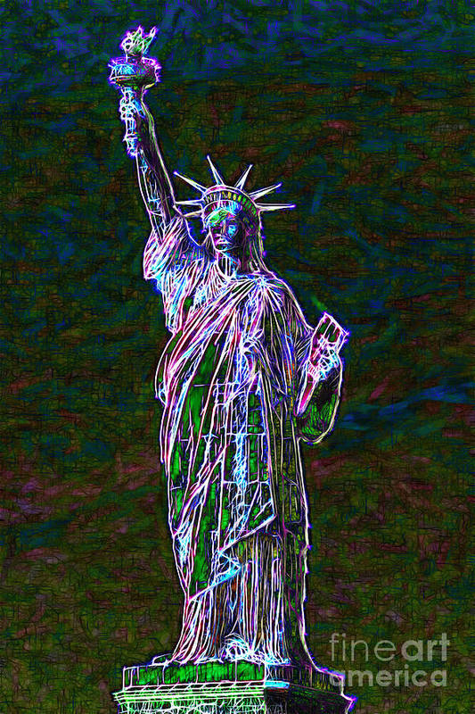 Patriotic Print featuring the photograph Lady Liberty 20130115 by Wingsdomain Art and Photography