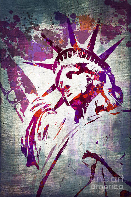 Statue Of Liberty Art Print featuring the painting Lady Liberty Watercolor by Delphimages Photo Creations