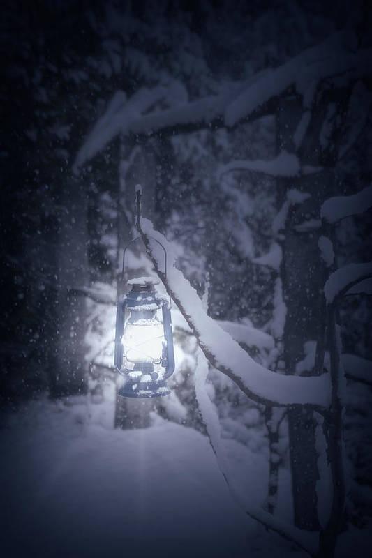Lantern Print featuring the photograph Lantern In Snow by Joana Kruse