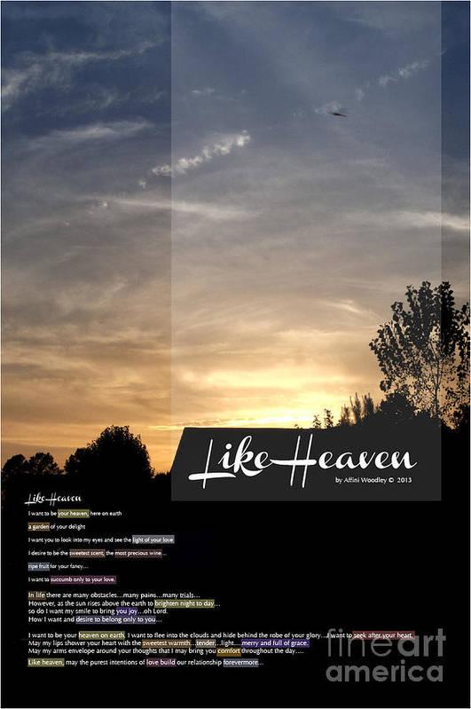 Like Heaven Art Print featuring the digital art Like Heaven by Affini Woodley