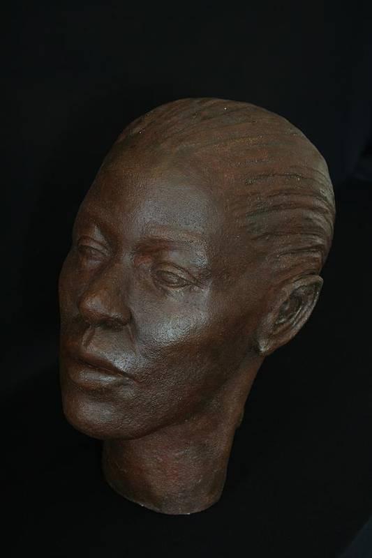 Portrait Sculpture Art Print featuring the sculpture Loanna by Flow Fitzgerald