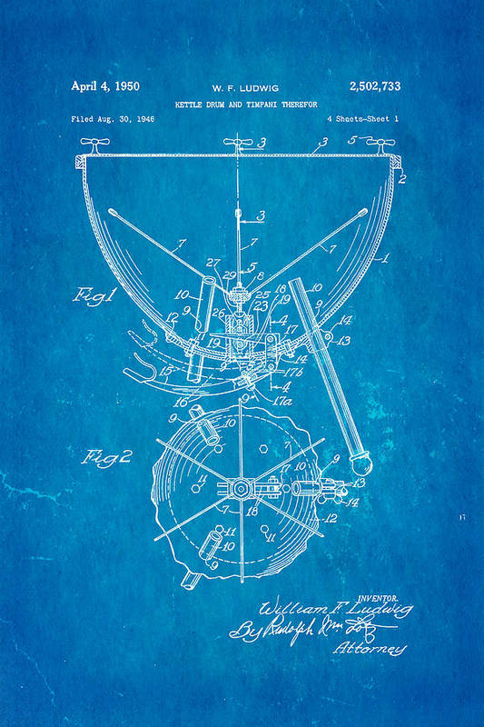 Music Art Print featuring the photograph Ludwig Kettle Drum And Timpani Patent Art 1950 Blueprint by Ian Monk