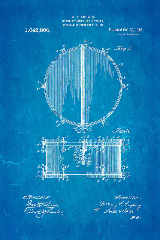 Famous Art Print featuring the photograph Ludwig Snare Drum Patent Art 1912 Blueprint by Ian Monk