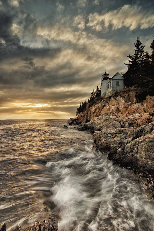 Bass Harbor Lighthouse Art Print featuring the photograph Maine Lighthouse by Chad Tracy