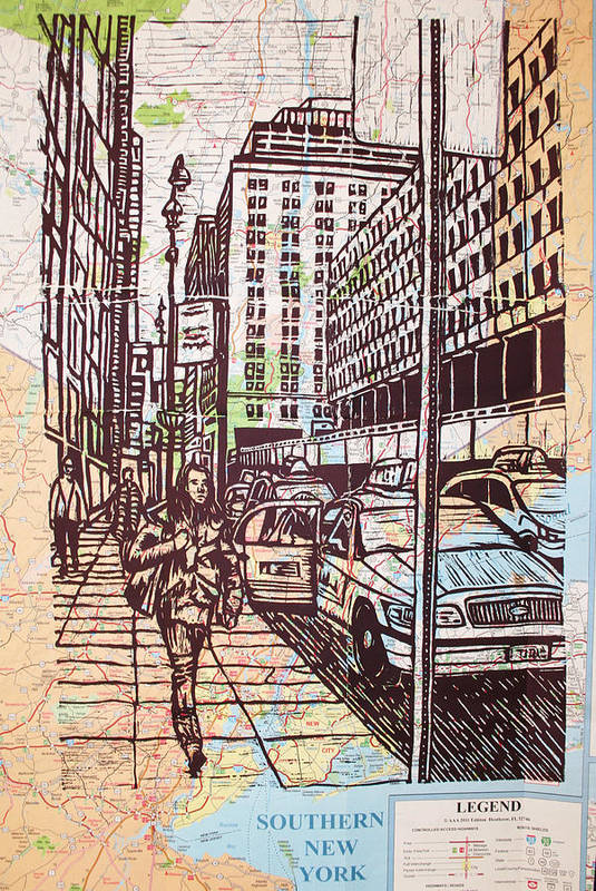 Nyc Art Print featuring the drawing Manhattan On Map by William Cauthern