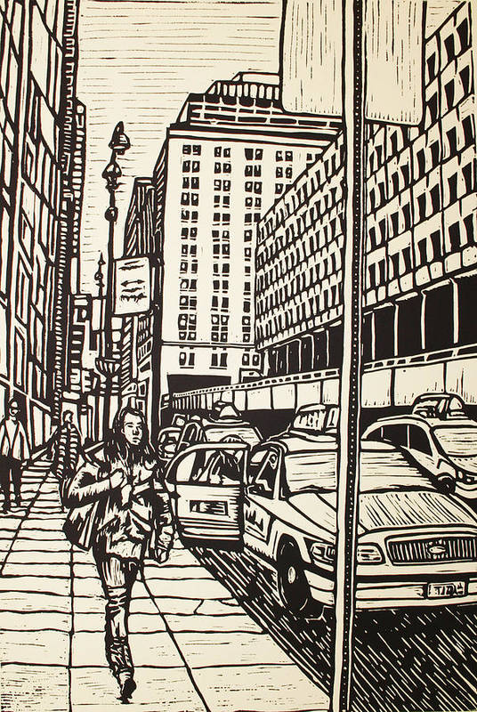 Nyc Art Print featuring the drawing Manhattan by William Cauthern