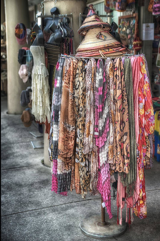 Scarf Art Print featuring the photograph Market Scarves by Brenda Bryant