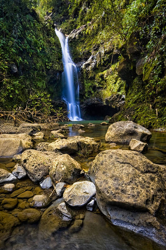 3scape Photos Art Print featuring the photograph Maui Waterfall by Adam Romanowicz