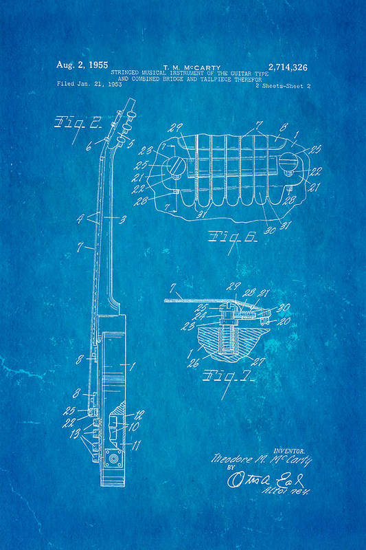 Famous Art Print featuring the photograph Mccarty Gibson Les Paul Guitar 2 Patent Art 1955 Blueprint by Ian Monk