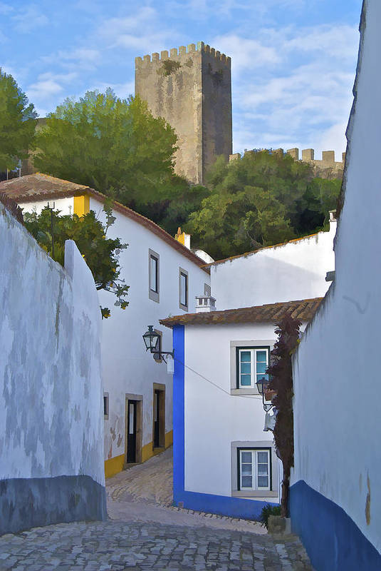 Blue Art Print featuring the photograph Medieval Castle Of Obidos by David Letts