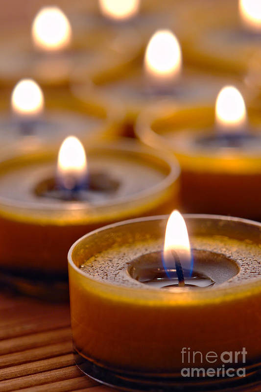Candle Art Print featuring the photograph Meditation Candles Path by Olivier Le Queinec