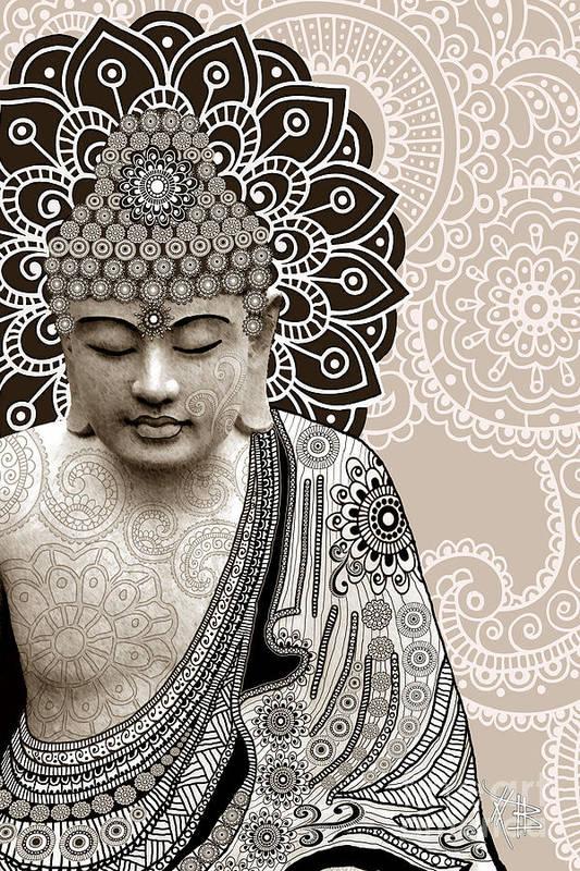 Buddha Art Print featuring the digital art Meditation Mehndi - Paisley Buddha Artwork - Copyrighted by Christopher Beikmann