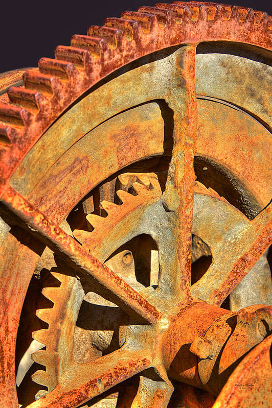 Gears Art Print featuring the photograph Meshing Gears by Phyllis Denton