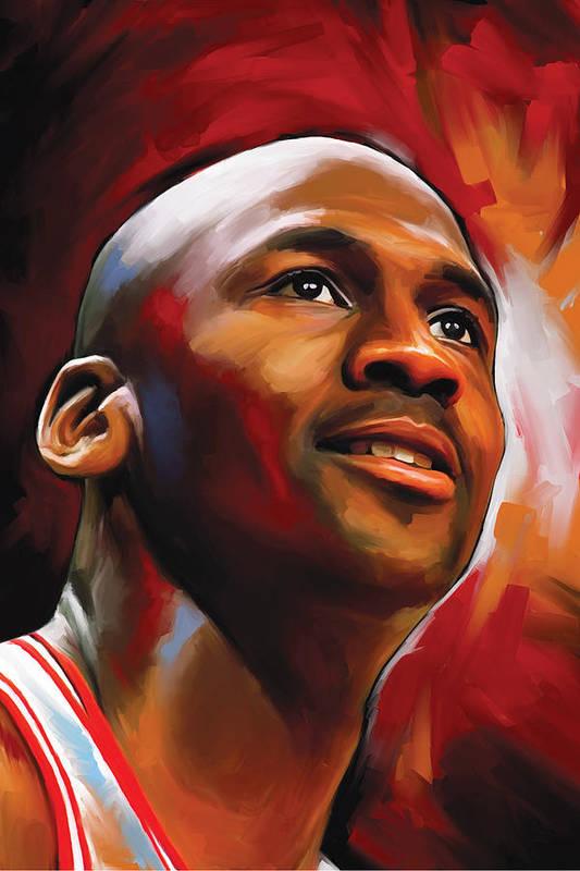 Nba Art Print featuring the painting Michael Jordan Artwork 2 by Sheraz A
