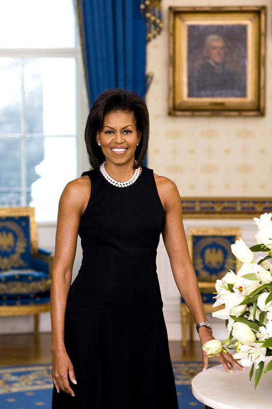 Admiral Print featuring the digital art Michelle Obama by Official White House Photo