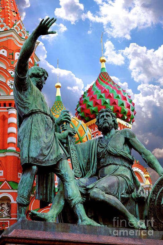 Red Square Art Print featuring the photograph Minin And Pozharsky Monument In Moscow by Oleksiy Maksymenko