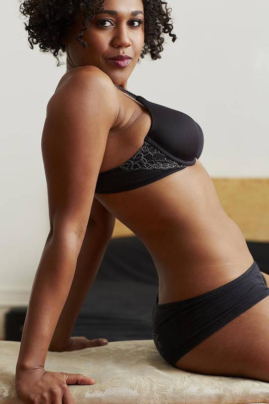 35c138875 Three Quarter Length Art Print featuring the photograph Mixed Race Woman  Wearing Black Bra And Panties