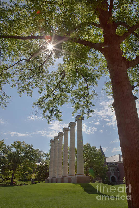 Mizzou Art Print featuring the photograph Mizzou Columns Sunflare by Kay Pickens