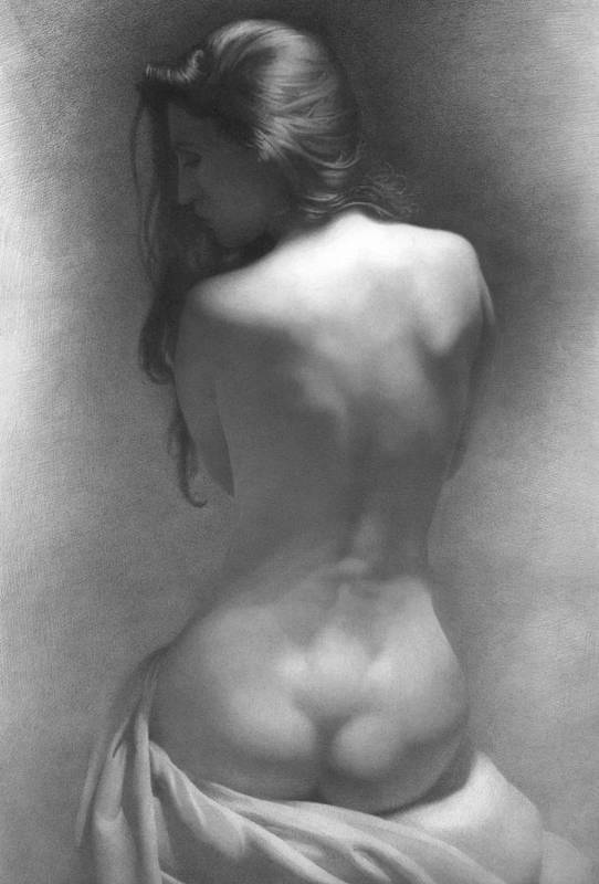 Art Print featuring the drawing Model Against The Dark Background 2002 by Denis Chernov