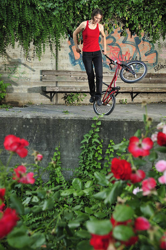 Bmx Flatland Art Print featuring the photograph Monika Hinz Doing Elegant Bmx Flatland Trick by Matthias Hauser