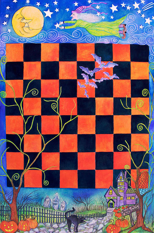 Halloween Art Print featuring the painting Flight Of The Moon Witch Checkerboard by Janet Immordino