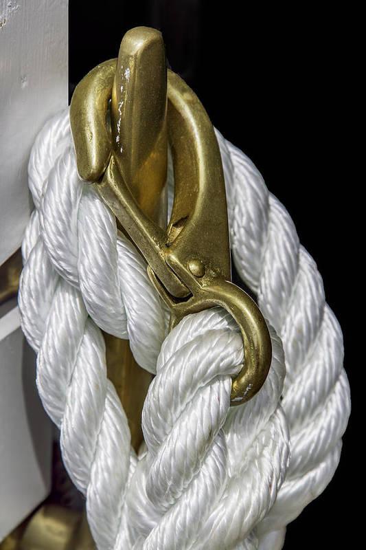 Nantucket Photographs Art Print featuring the photograph Mooring Rope-nantucket Massachusetts Series 02 by David Allen Pierson