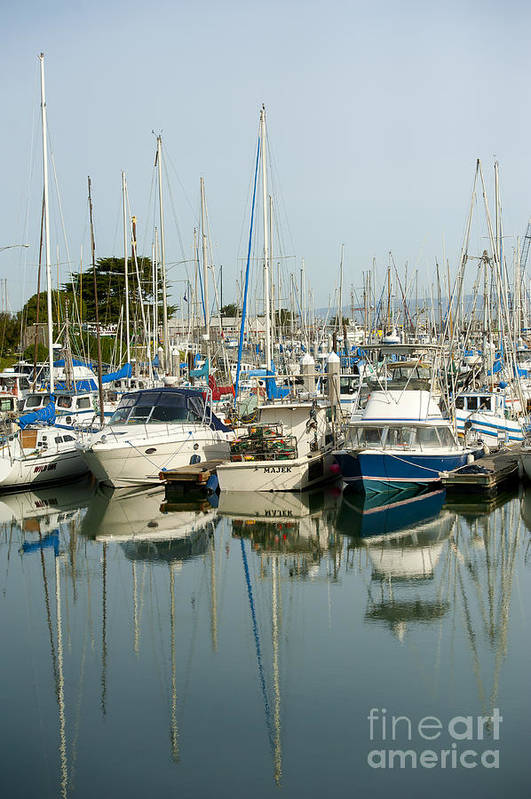 Moss Landing Harbor Art Print featuring the photograph Moss Landing Boat Harbor by Artist and Photographer Laura Wrede
