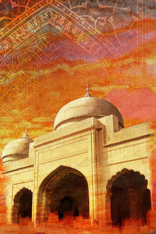 Pakistan Art Print featuring the painting Moti Masjid by Catf