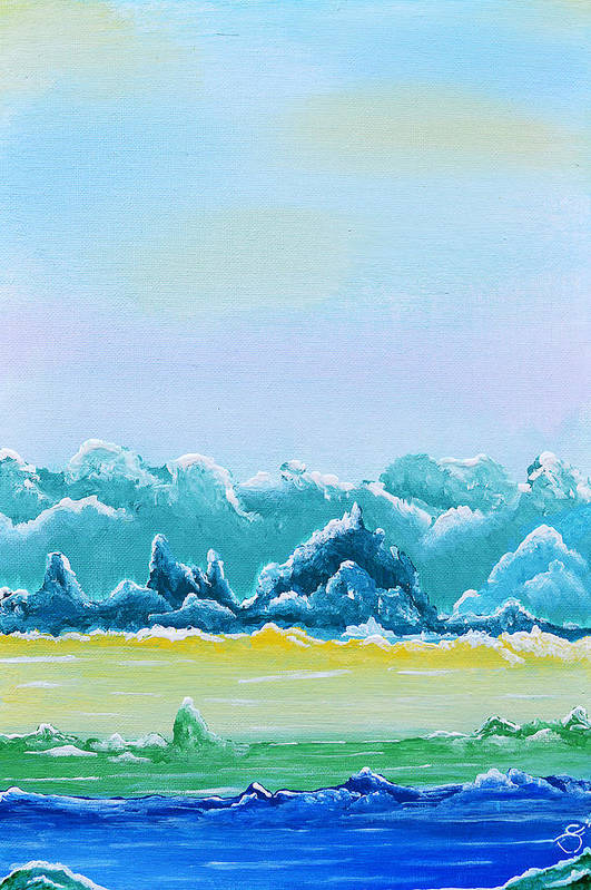 Acrylic Painting Art Print featuring the painting Mountain Range by Sherry Allen